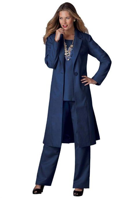 bfaa74c14de Amazon.com  Roamans Women s Plus Size Three-Piece Duster Pant Suit  (Midnight Navy