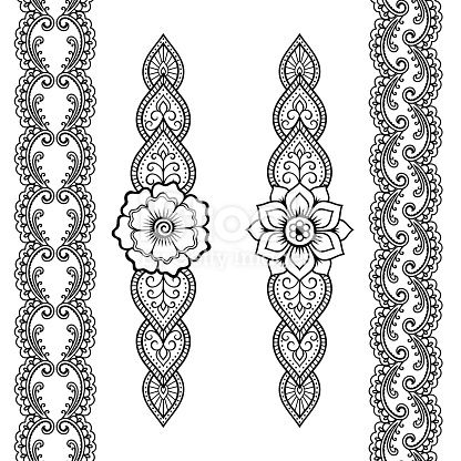 Set of seamless borders for design and application of henna. Bracelet…