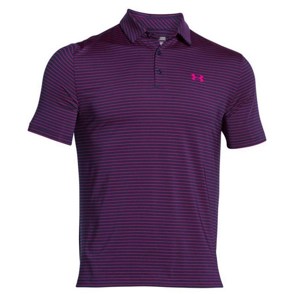 Under Armour Cheap Playoff Polo Shirt Top UA Golf Blue Pink Striped L