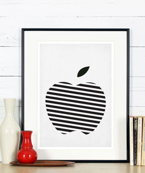 Retro Küche Poster, Obst, Schwarz Weiß Apfel, A3 Interiors - küche schwarz weiß