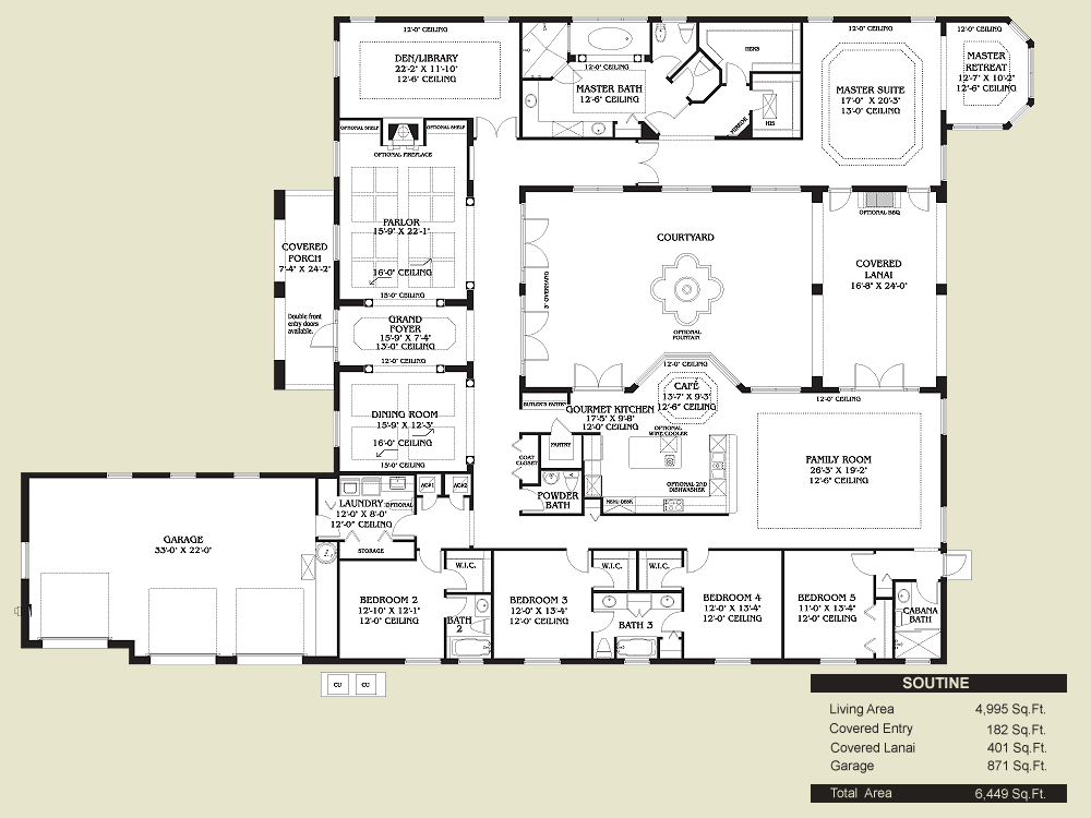 Pin By Petra De Haas On Spanish House Plans Courtyard House Plans House Floor Plans Spanish Style