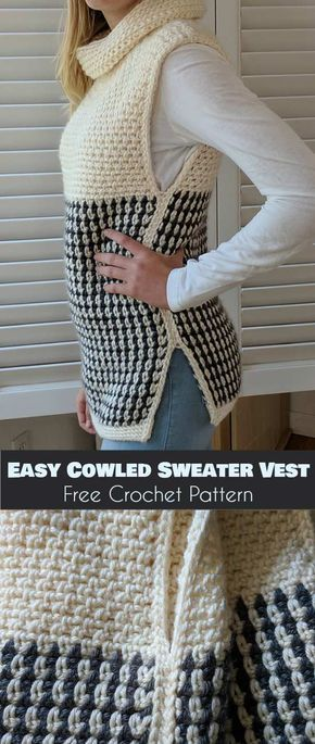 Easy Cowled Sweater Vest [Free Crochet Pattern] #crochetclothes
