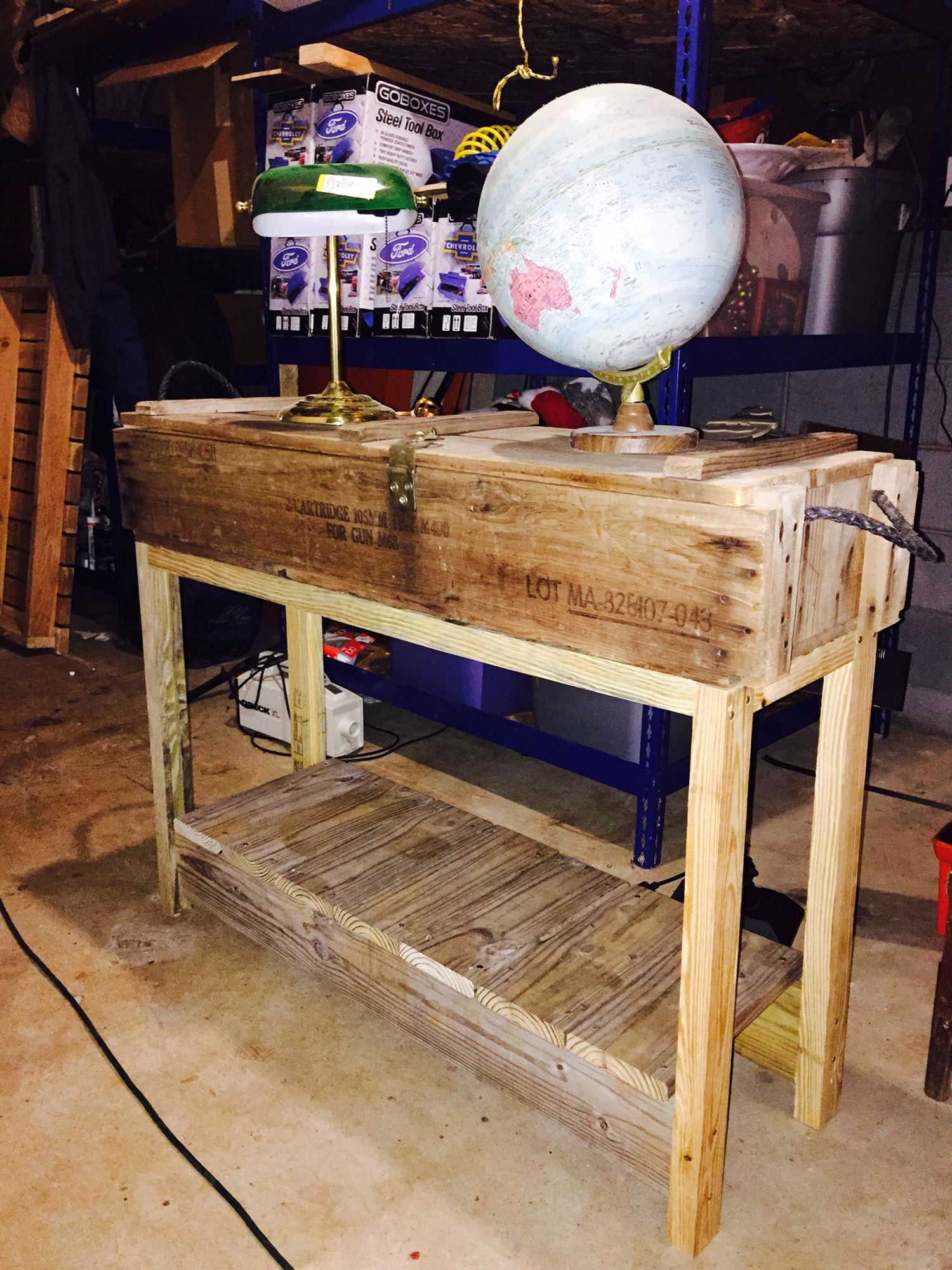 Vintage military ammo box converted into a hall table