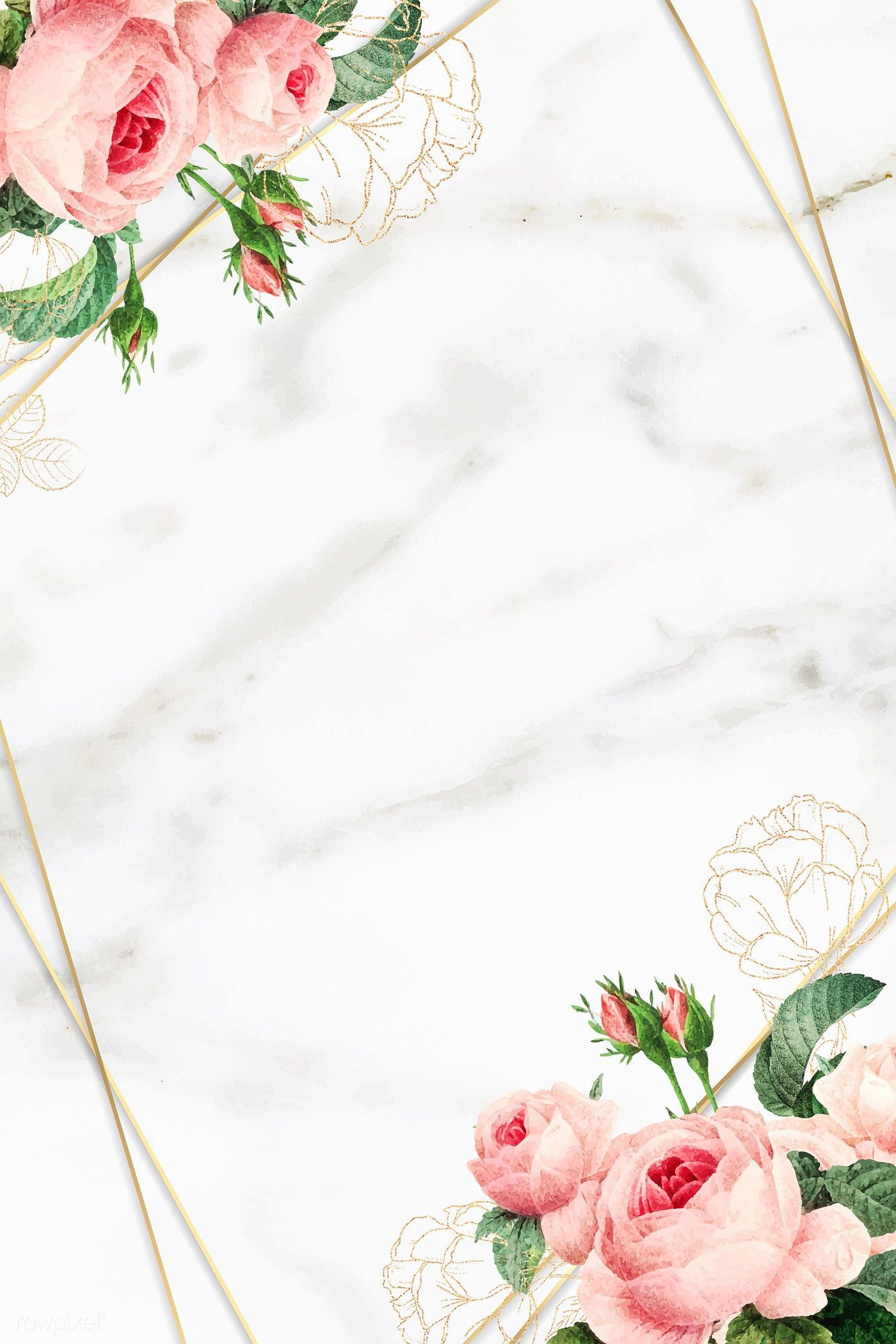 Download premium vector of Golden floral marble frame