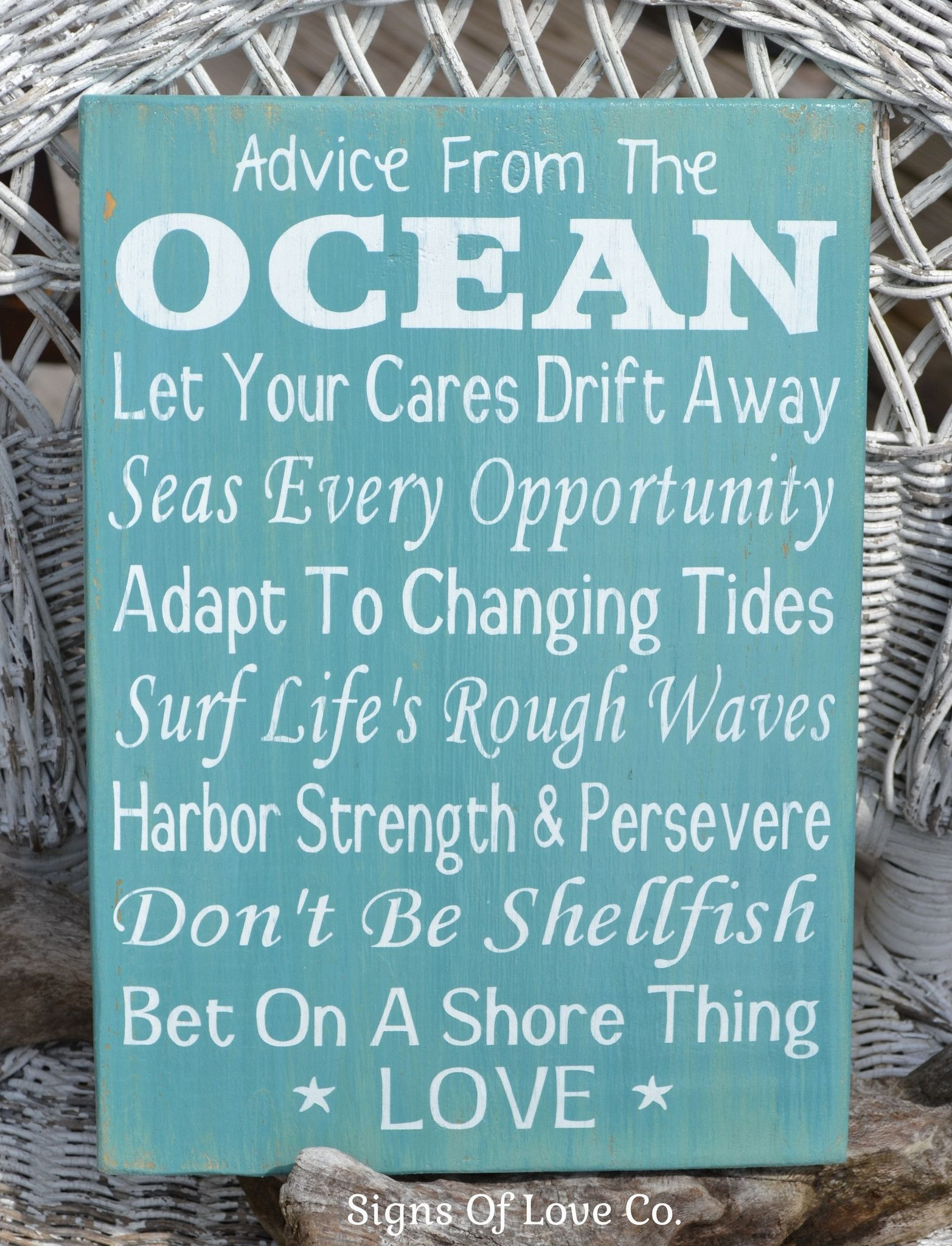 Love Quote Signs Advice From The Ocean Wood Sign Beach Wedding Hand Painted House