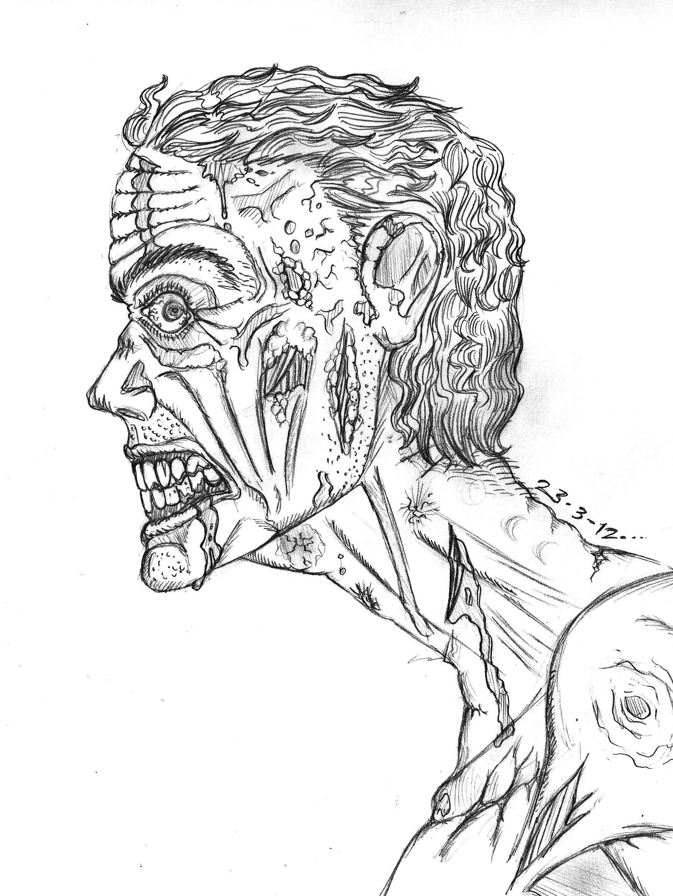 zombie sketch art zombie sketch by thewallproducciones sketch artzombiestattoo coveringcolouring sheets - Black Ops Zombies Coloring Pages