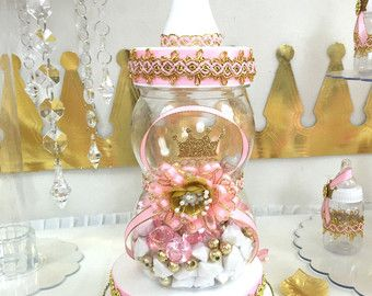 High Quality Princess Baby Shower Candy Buffet Diaper Cake Centerpiece With Baby Shower  Favors / Girls PINK And GOLD Little Princess Theme Decorations