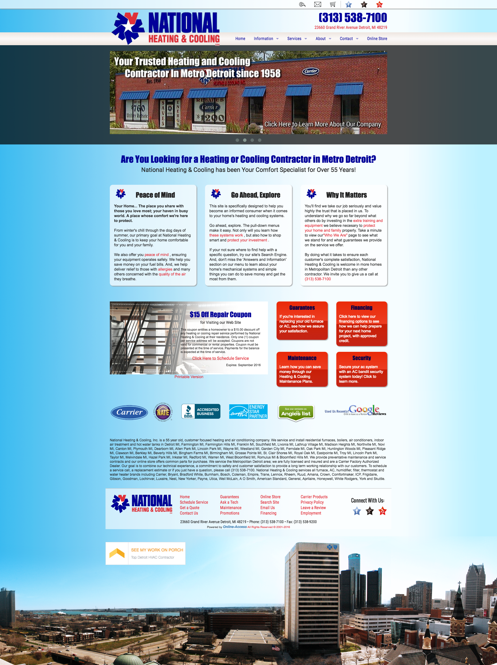 National Heating and Cooling Detroit, MI heating and air