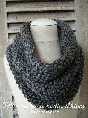 Snood avec les aiguilles n 8 monter 40 mailles et tricoter au point de riz pendant 40 cm - Monter mailles tricot debutant ...