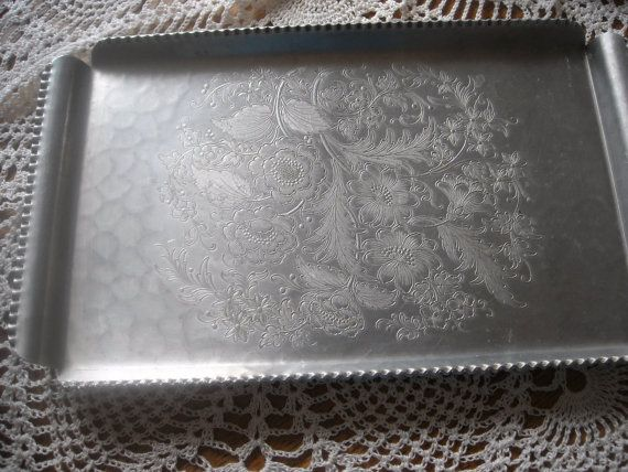 Floral Design Vintage Aluminum Tray by ContemporaryVintage on Etsy, $10.00