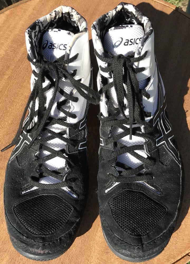 Asics Cael V7.0 Wrestling Shoes Sz 9 Black & White J605Y