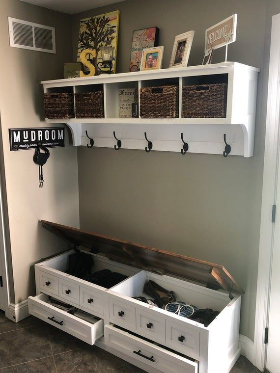 Entryway Coat Rack and Bench / Wall Storage Cubical with Matching Bench / Hallway Coat Rack and Boot Bench