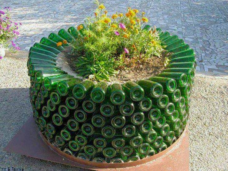 Recycled Wine Bottle Garden Planter | Outdoor Living