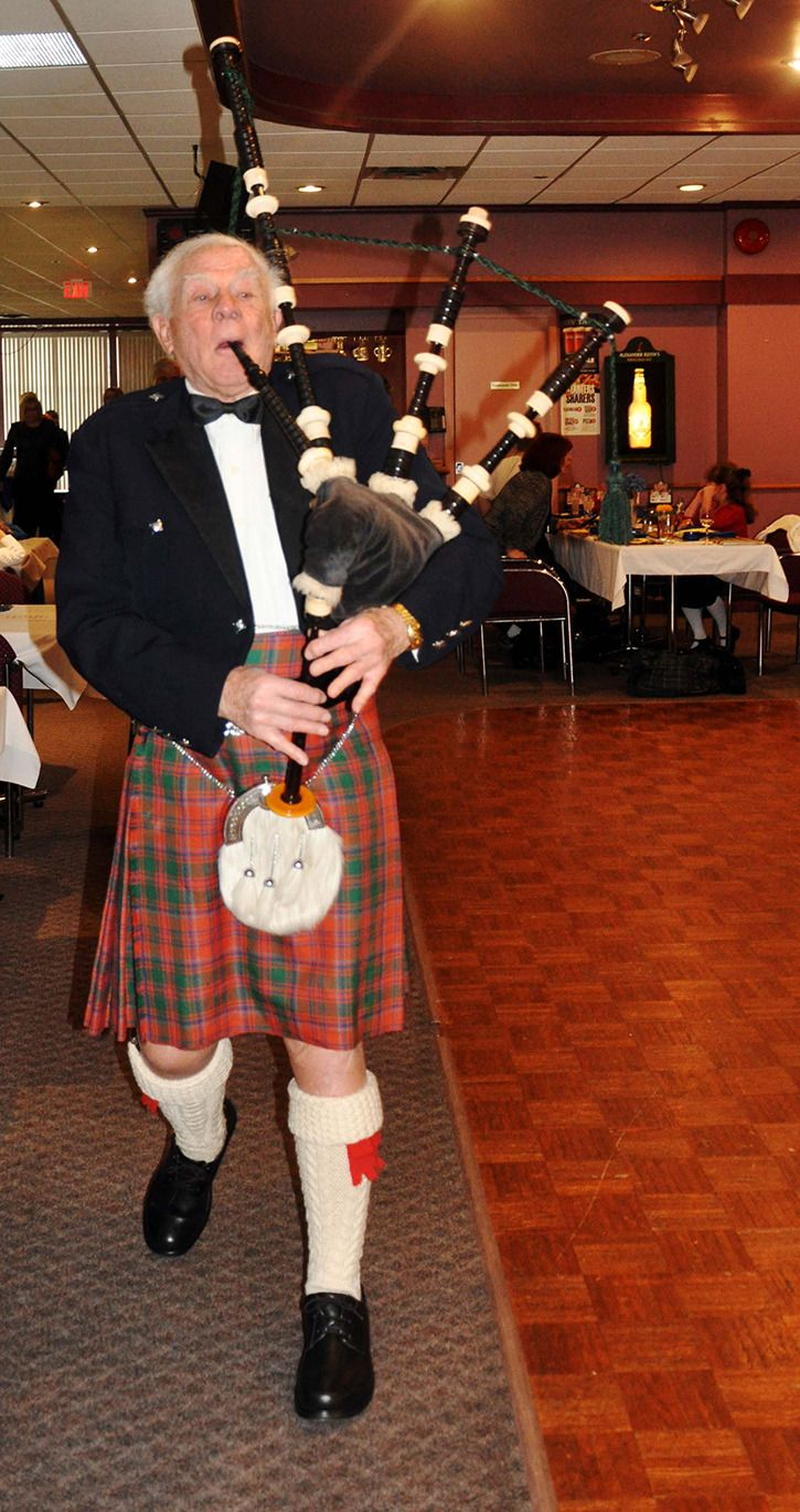 Roy Strang played the bagpipes at the 24th annual Robbie Burns Luncheon, hosted by The Clan MacLeod Society of Greater Vancouver at the Rich...