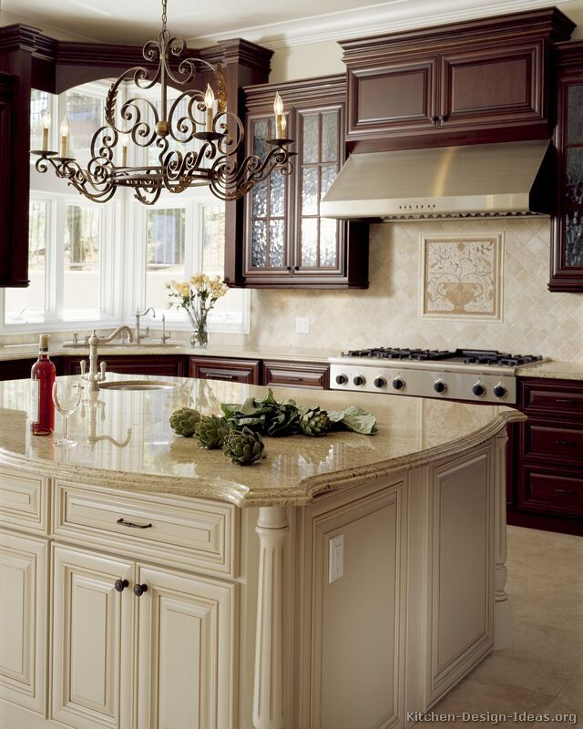 Pictures Of Kitchens Traditional Two Tone Kitchen Cabinets Page 2 Antique White Kitchen Cabinets Antique White Kitchen Cherry Cabinets Kitchen