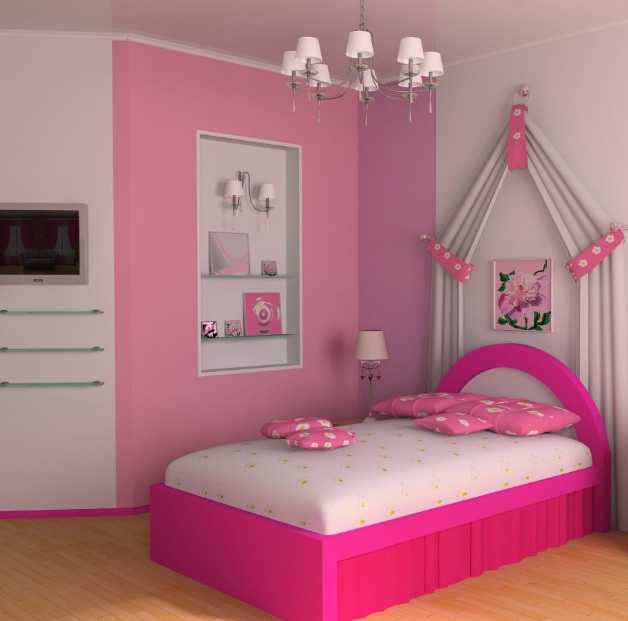Cute modern little girls room with bright and fun ambience pink