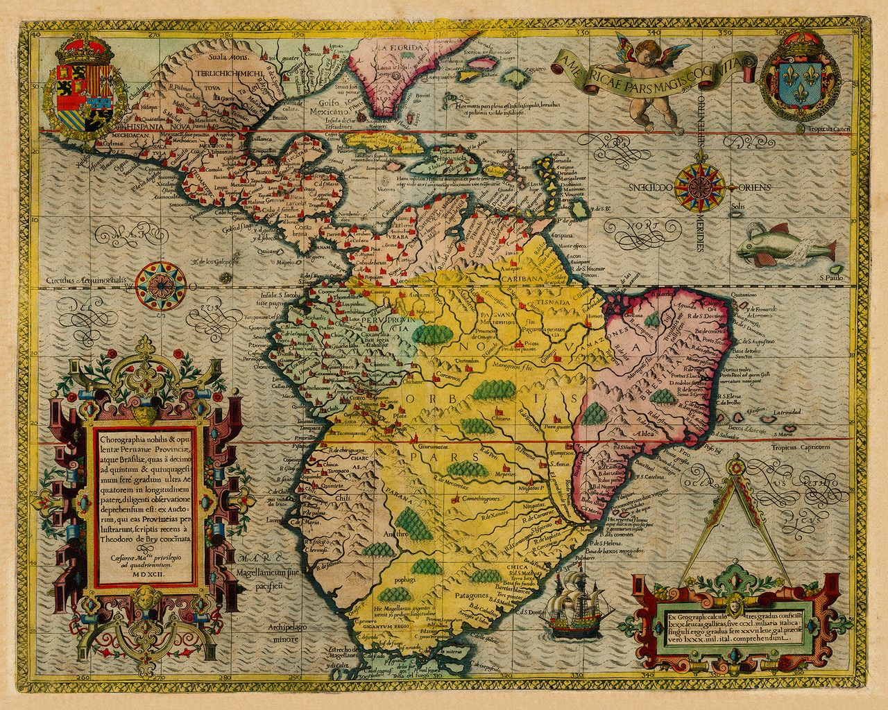 South America  Caribbean De Bry Map Cartography - Old maps of america