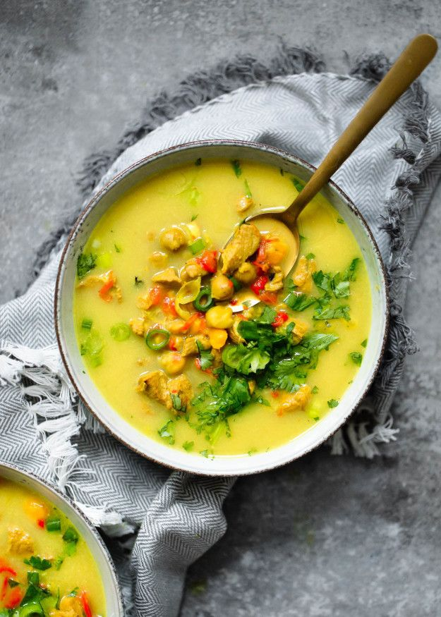 Golden Turmeric Chickpea Chicken Soup