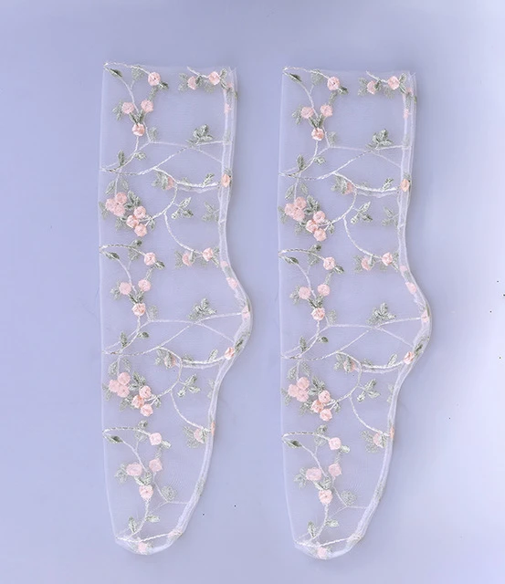 Women's Candy Colors Embroidered Lace Mesh Flower Socks