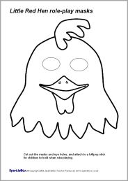 Little Red Hen Role Play Masks Black And White Sb2016