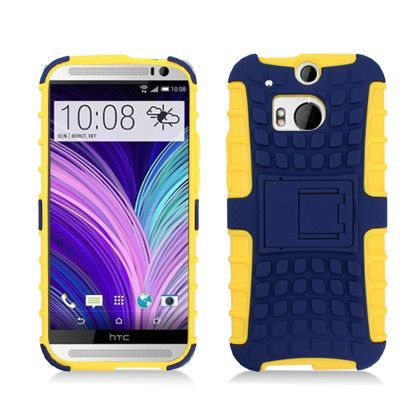 Inverse Kickstand Rugged Defender HTC One M8 Case - Navy Blue/Yellow