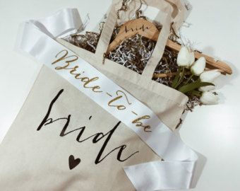 Bride Gift Set. Tote /Sash/ Tank. Bridal by keeplifesimpledesign