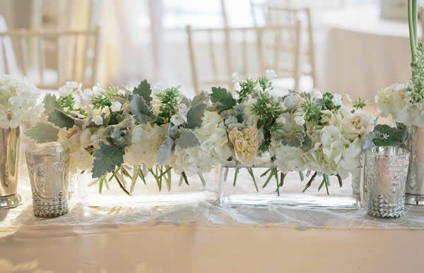 Unique flower arrangement idea - flower table runner centerpieces {Hudson Nichols Photography}
