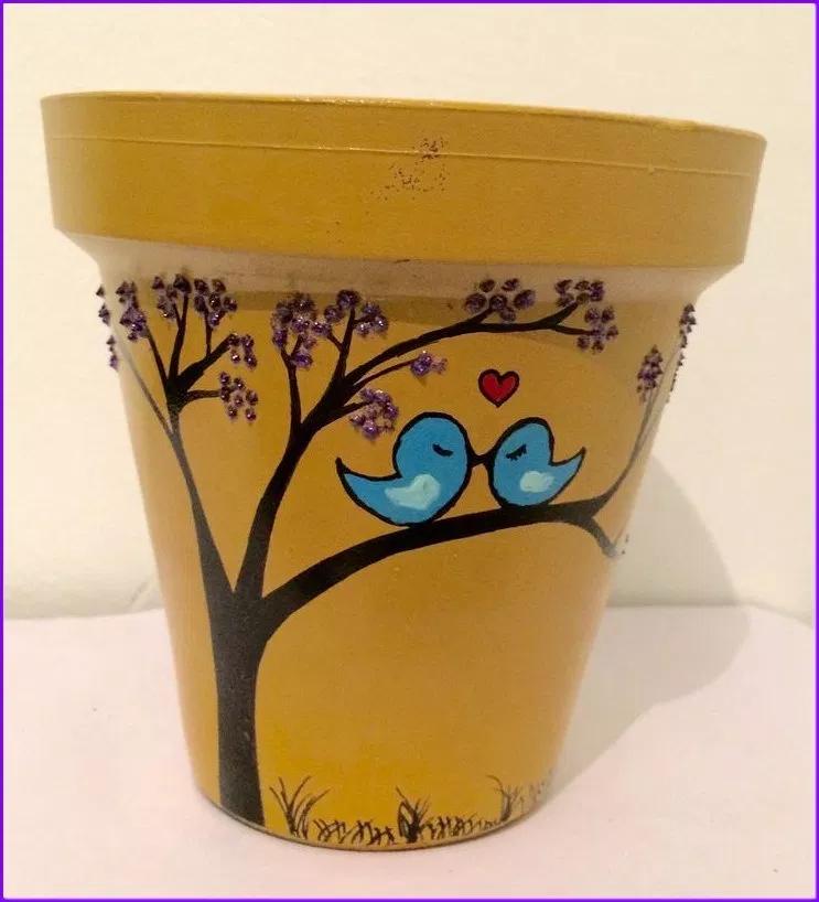 45 Simple Easy Flower Pot Painting Ideas Tatuajesparahombres Decorated Flower Pots Painted Clay Pots Painted Plant Pots