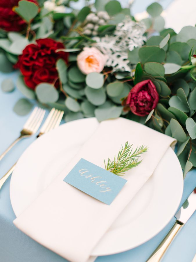 Mint Photography | via Style Me Pretty | Pocketful of Sunshine Event Design Inspiration: Dusty Blue & Cranberry