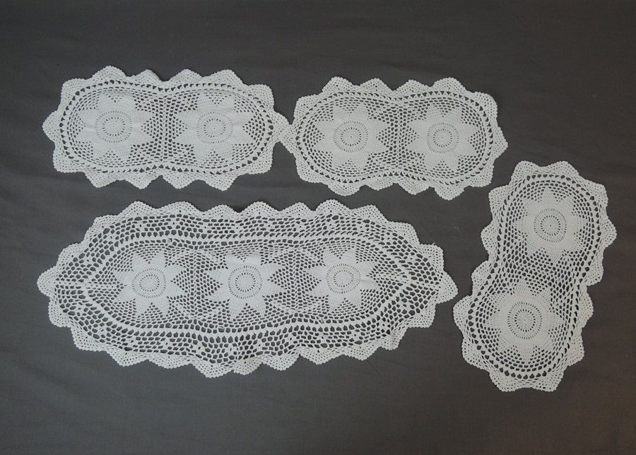 Vintage 4 Matching Crochet Doily Set, Handmade 1940s Linen Decor by dandelionvintage on Etsy