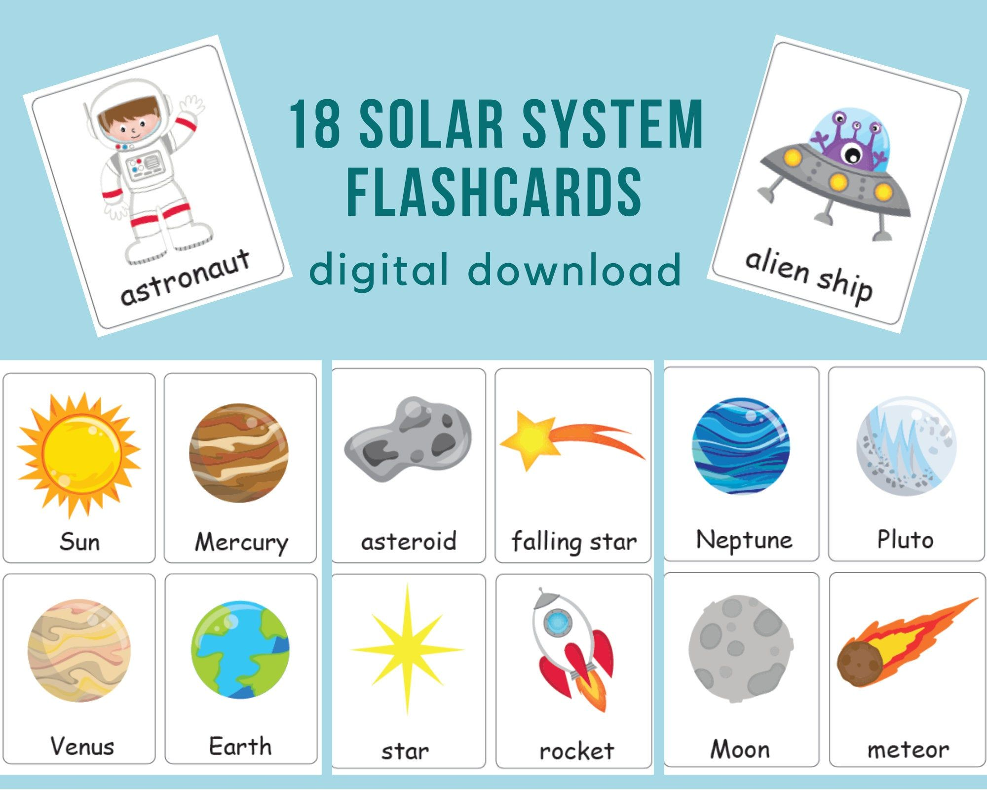 Solar System Flashcards Galaxy Activity For Toddler