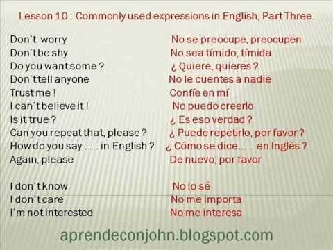 Frases Cotidianas En Inglés Parte 1 Youtube Aprender