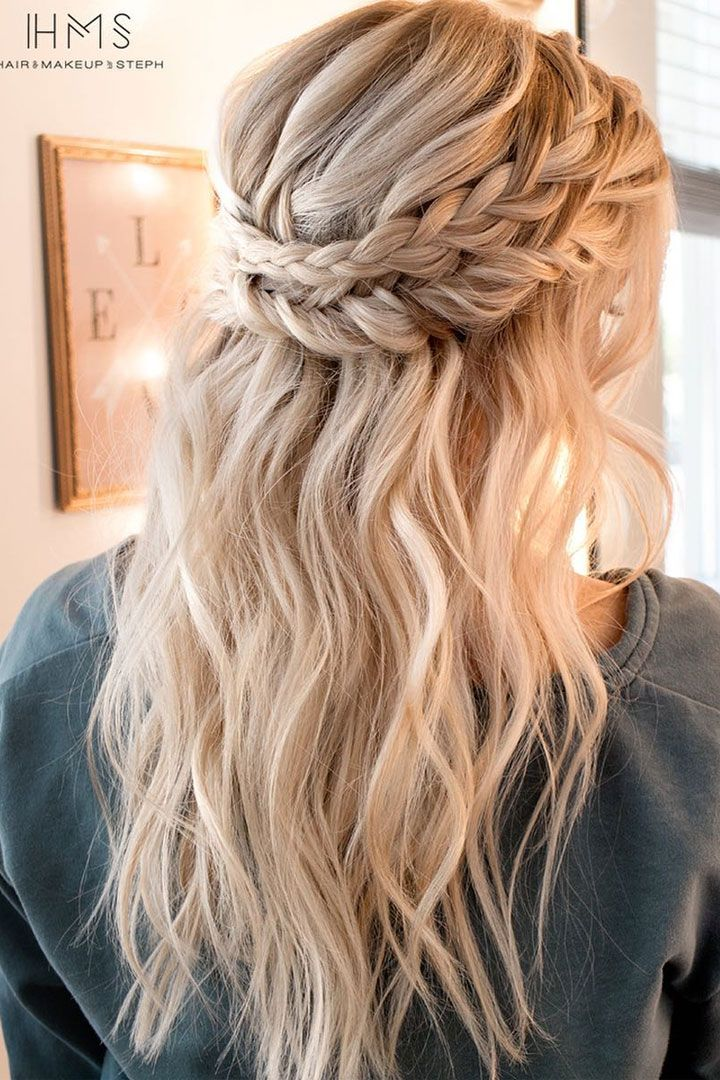 Crown Braid With Half Up Half Down Hairstyle Inspiration Cute