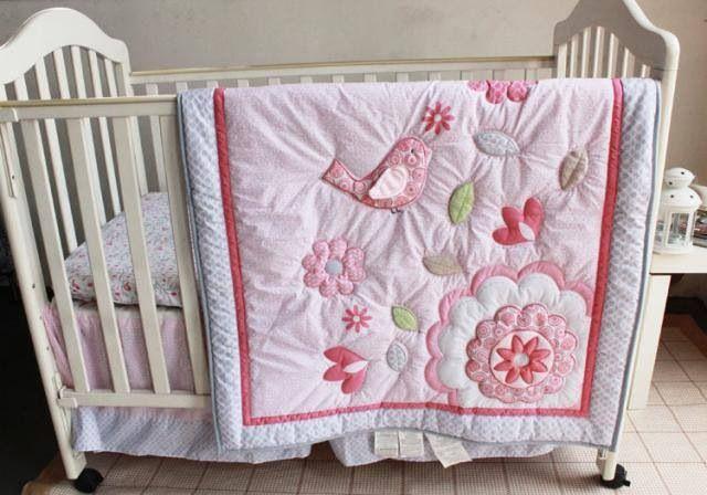 4pcs Baby Girl Bedding Rabbits Crib Nursery Quilt Bumper Sheet Crib Skirt *