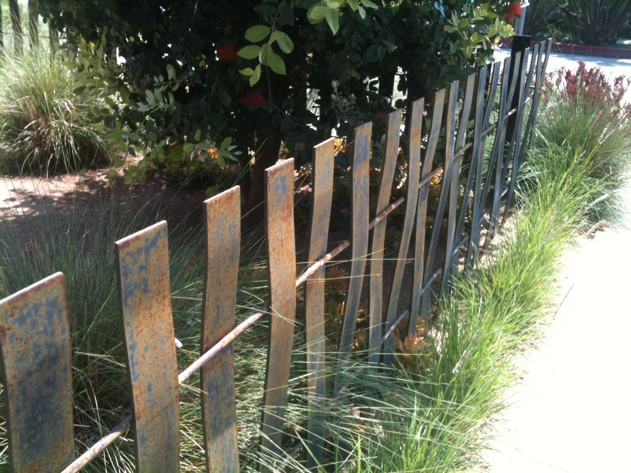 artistic metal fence in Venice Beach, CA