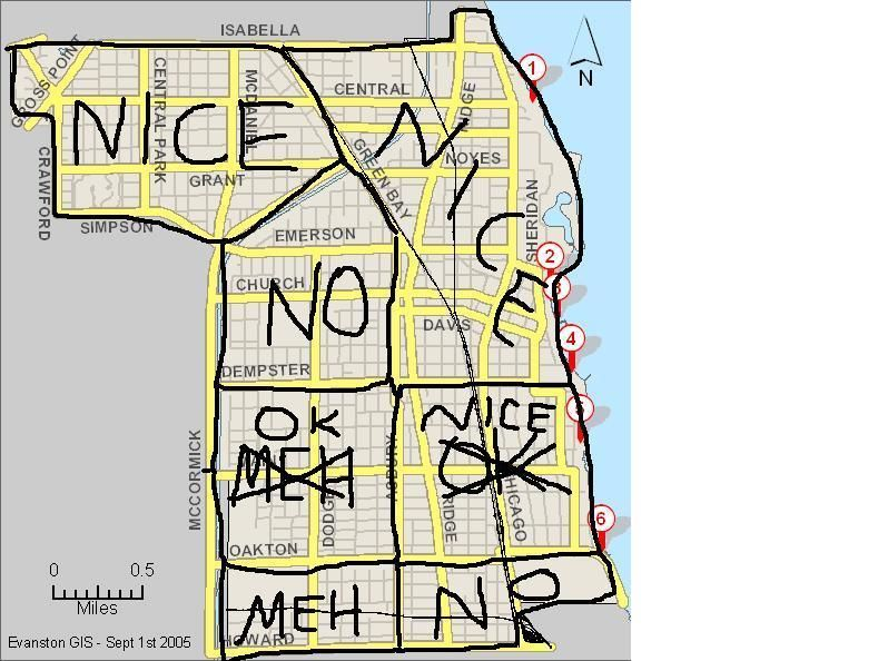 Bad Parts Of Chicago Map Hilarious, yet helpful, map of good/bad neighborhoods in Evanston