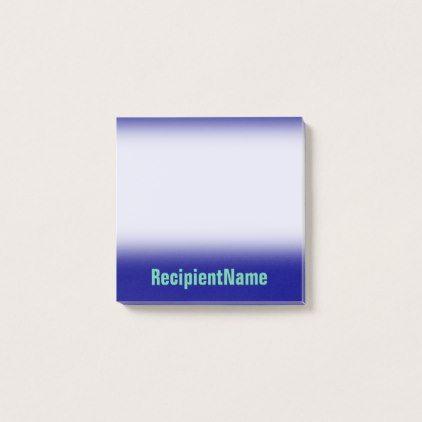 Minimal, Basic, Blue Background + Aquamarine Name Post-it Notes - basic blue background