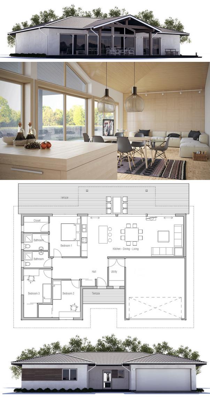 Small House Ch100 Modern House Plans House Exterior Loft Floor Plans