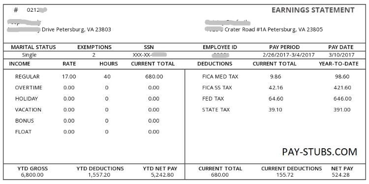 Create Paycheck Stubs Statement Template Payroll Template Resume Template Free