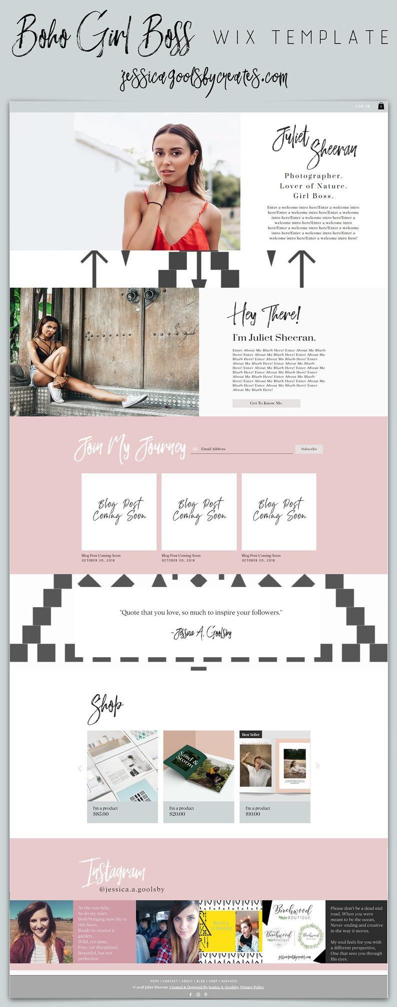 Boho Girl Boss Blog Store Services Wix Website Template