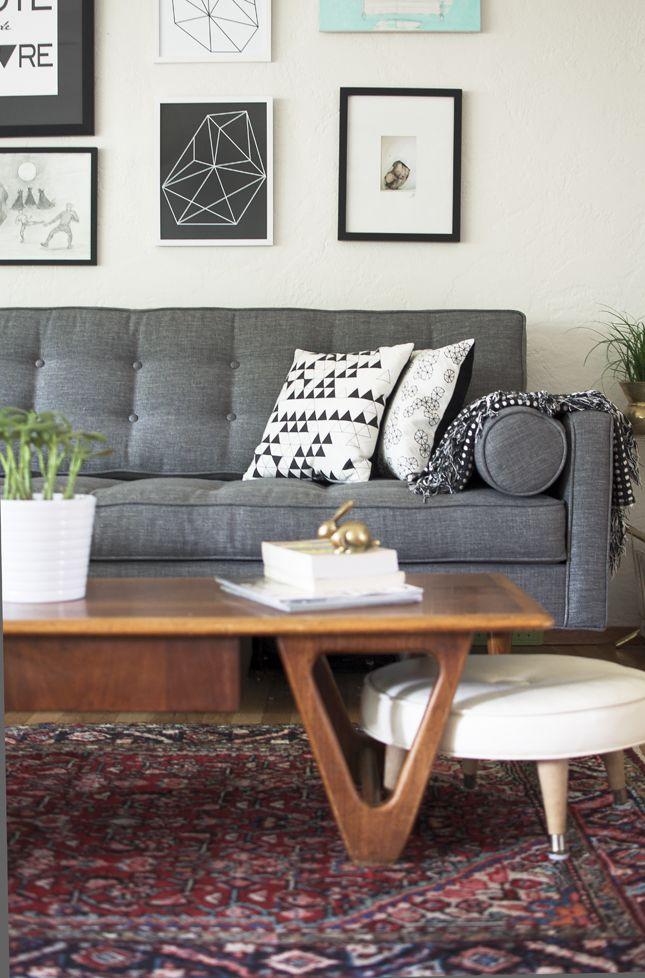 Vintage Persian Rug Living Room Carpet Dark Grey Couch Living