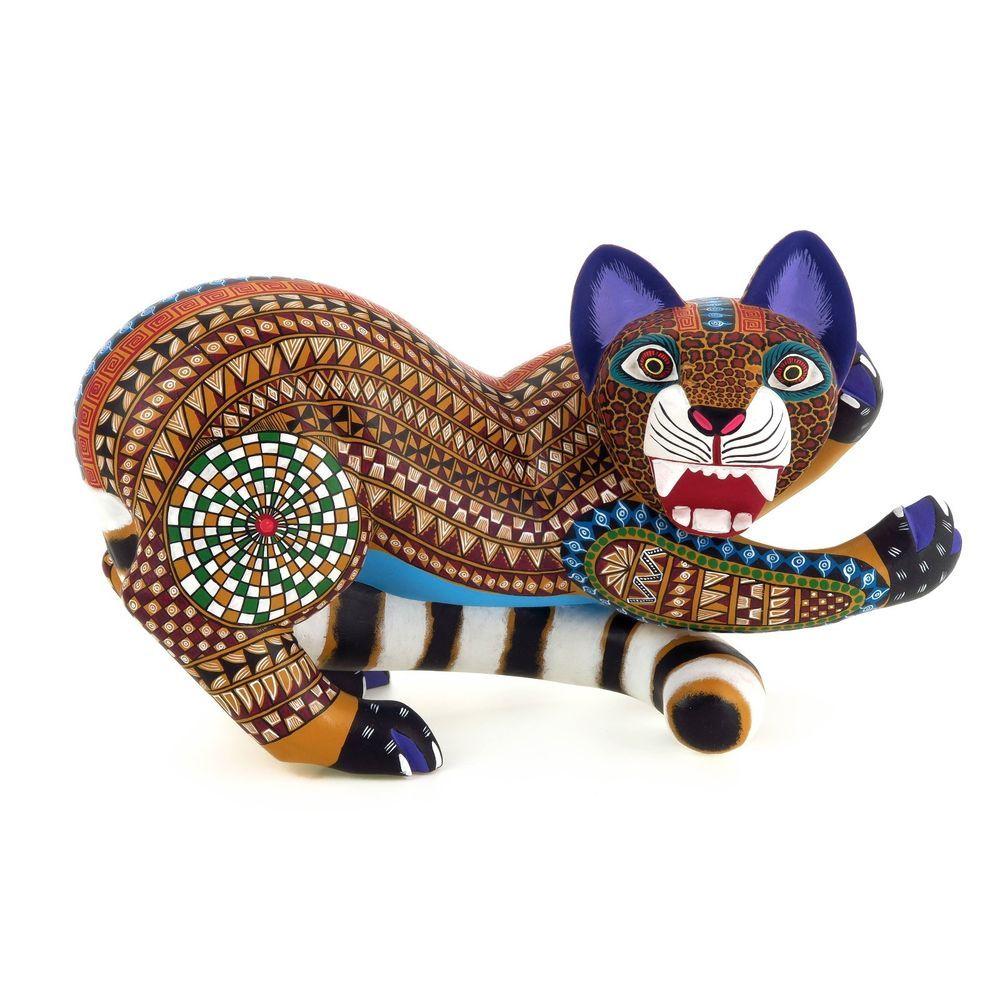 FINE JAGUAR Oaxacan Alebrije Wood Carving Mexican Folk Art Sculpture
