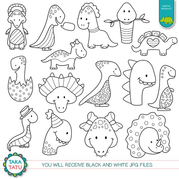 Dinosaur Digital Stamp Pack Black And White Clipart Etsy In 2021 Dinosaur Coloring Pages Dinosaur Stamps Easy Dinosaur Drawing