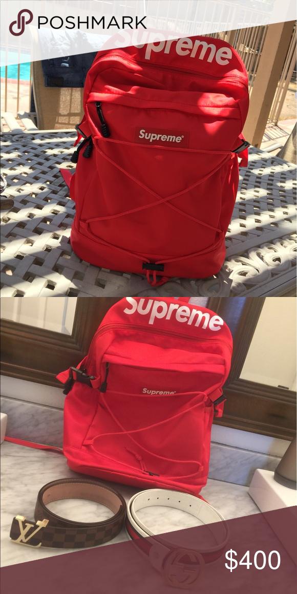 0af6bd8660a8f3 Supreme x Gucci x Louis Vuitton Red supreme backpack x Gucci belt x Louis  Vuitton belt Gucci Accessories Belts