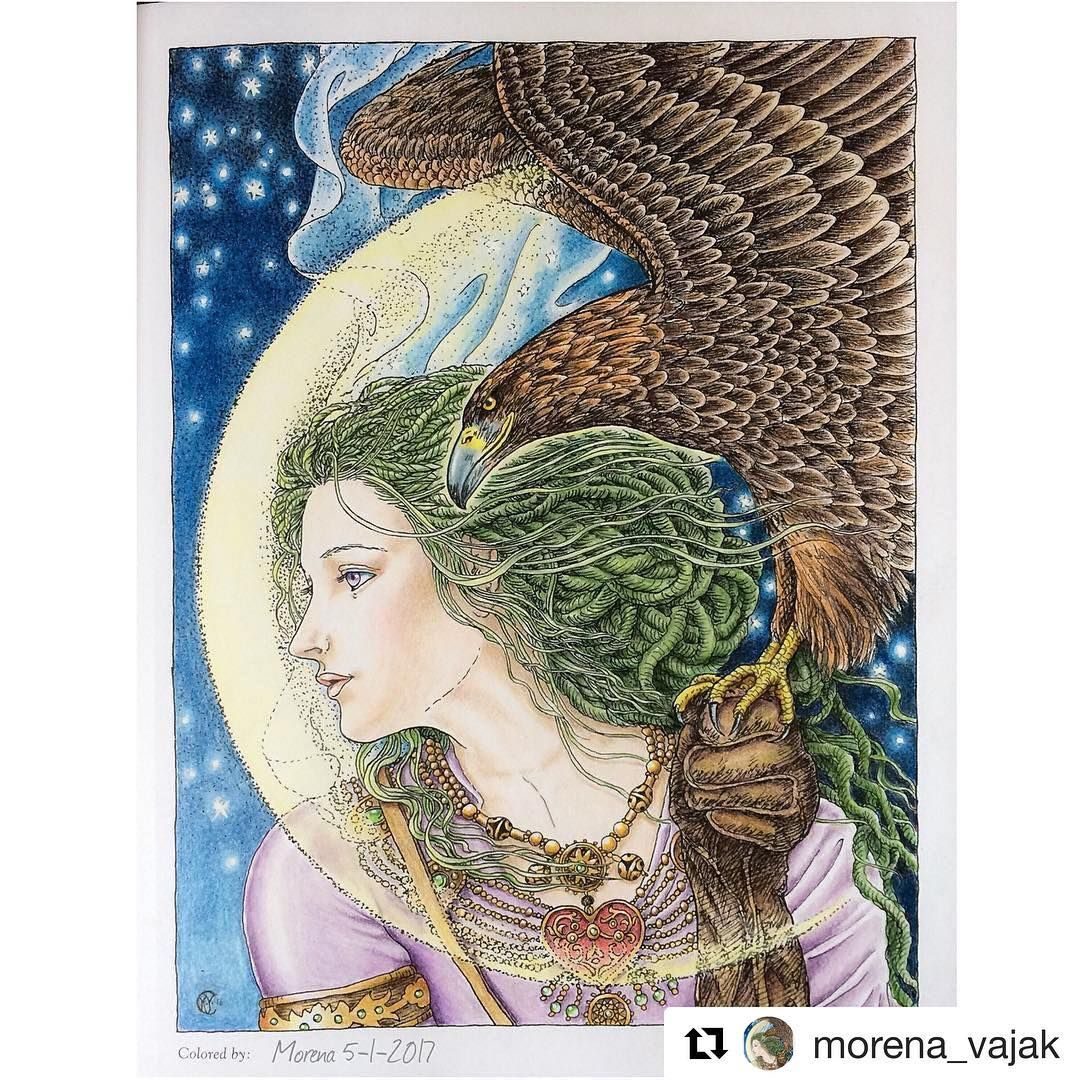 Absolutely Gorgeous Coloring By Morena Vajak In The Kinuko Y Craft Coloring Book Myth Magic Kinukocraft Kinuko Coloring Books Coloring Pictures Artwork
