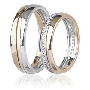 Кольцо обручальное белое и красное золото