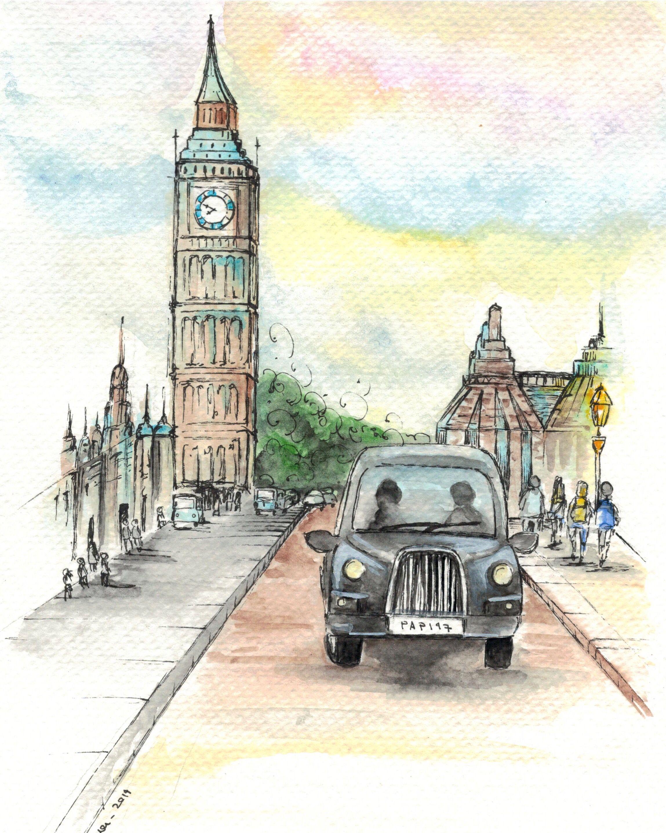 Original Painting Of London Ciry Urban Sketching Watercolour