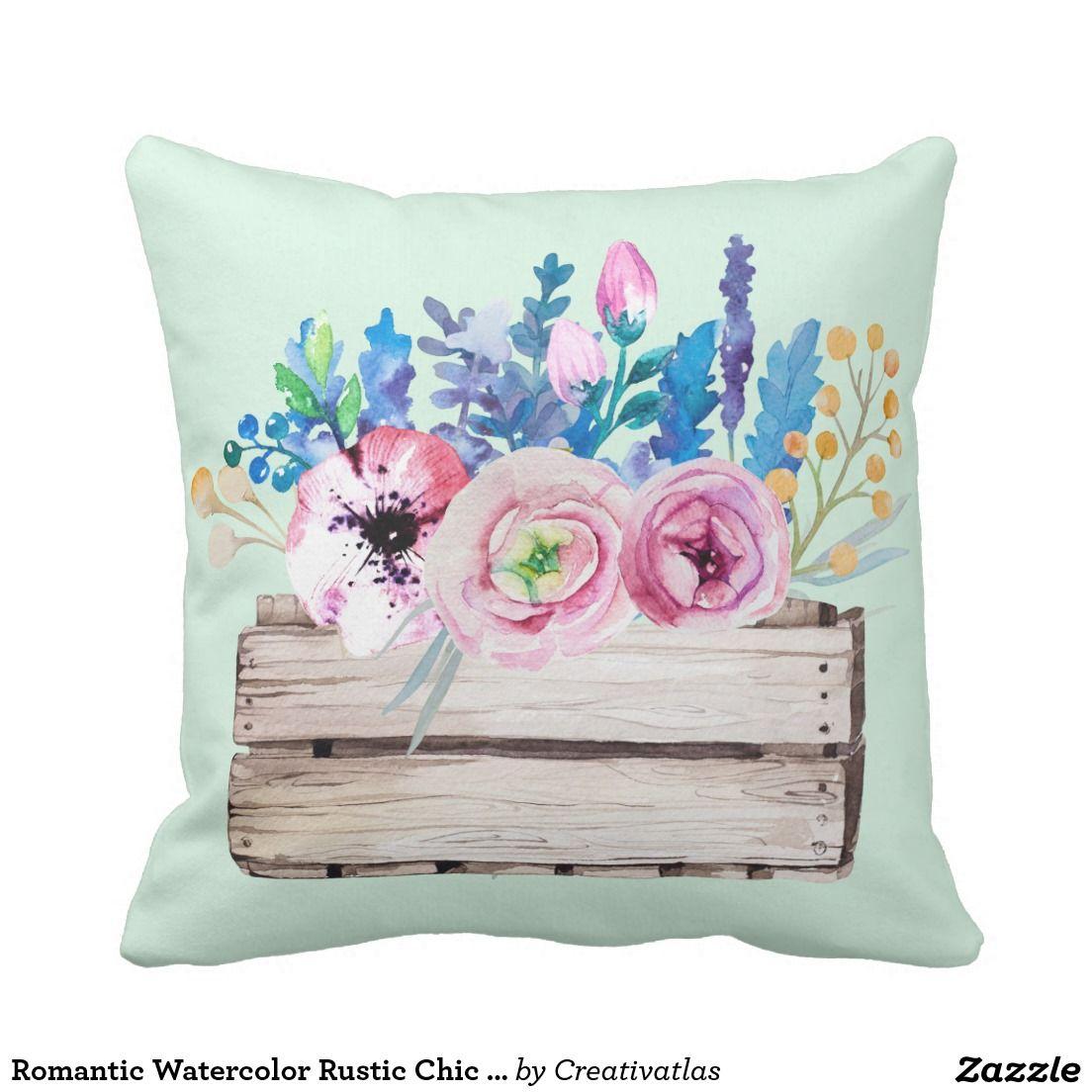 romantic decor home office. Romantic Watercolor Rustic Chic Floral Bouquet Throw Pillow   Office Art Decor Home Online