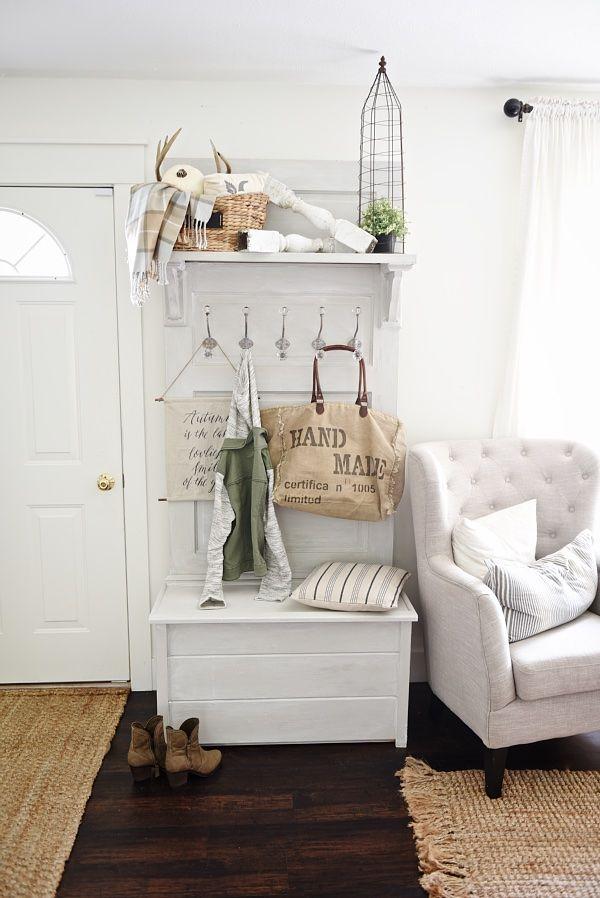 old door furniture ideas. DIY Door Hall Tree Old Furniture Ideas