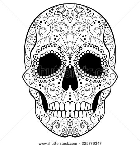 Volwassen Kleurplaten Konijnen Day Of The Dead Sugar Skull With Detailed Floral Ornament